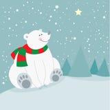 Oso polar del día de fiesta lindo de la Navidad Imágenes de archivo libres de regalías