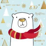 Oso polar lindo con la inscripción de la Feliz Navidad Plantilla de la tarjeta del Año Nuevo stock de ilustración