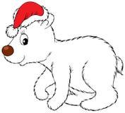 Oso polar que desgasta el casquillo de Navidad Imagen de archivo