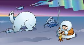 Oso polar y esquimal stock de ilustración