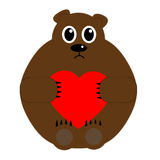 Oso que lleva a cabo día de tarjetas del día de San Valentín del corazón Fotos de archivo