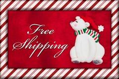 Oso rojo de la piel y de la Navidad de la felpa con el mensaje del envío gratis imagenes de archivo