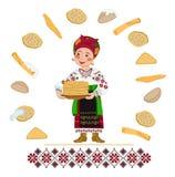 Oso ucraniano de la mujer una placa del día de fiesta de las crepes de Shrovetide Imágenes de archivo libres de regalías