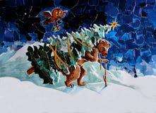 Oso y árbol de la tarjeta del applique de la Navidad Imágenes de archivo libres de regalías