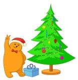 Oso y árbol de navidad del peluche Fotos de archivo