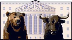 Oso y Bull Foto de archivo libre de regalías
