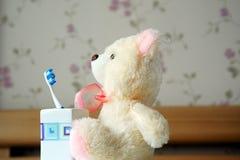 Oso y cepillo de dientes del juguete del trapo Fotos de archivo