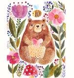Oso y flor stock de ilustración
