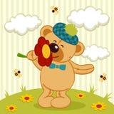 Oso y flor de peluche Imágenes de archivo libres de regalías