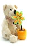 Oso y flor del peluche Foto de archivo