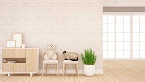 Oso y gato de peluche en silla en la sala de estar o el sitio del niño - diseño interior para las ilustraciones - representación  stock de ilustración