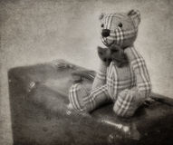 oso y maleta de peluche del Vendimia-estilo Fotografía de archivo