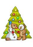 Oso y muñeco de nieve Imágenes de archivo libres de regalías
