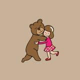 Oso y muchacha del abrazo Imagenes de archivo