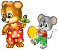 Oso y ratón de la historieta Imagen de archivo libre de regalías