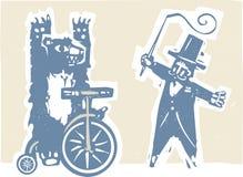 Oso y Ring Master del circo Foto de archivo libre de regalías