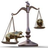 Oso y toro en las escalas stock de ilustración