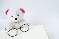 Oso y vidrios en el cuaderno abierto en el fondo blanco Foto de archivo