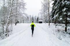 Osoba bieg w śniegu zakrywał las zdjęcia royalty free