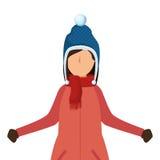 Osoba charakter z zimą odziewa royalty ilustracja
