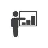 Osoba i dorośnięcie sporządzamy mapę ikona wektor, wypełniający mieszkanie znak, stały piktogram odizolowywający na bielu Bizneso Zdjęcie Stock