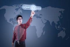 Osoba i początku guzik przyszłość Obraz Stock