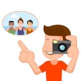 Osoba robi fotografii rozochocona firma ilustracja wektor