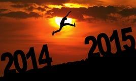 Osoba skacze nad 2015 Obrazy Royalty Free