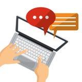 Osoba użytkownika laptopu środków gadki ogólnospołeczna rozmowa ilustracji