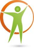 Osoba w ruchu, okręgu, sprawności fizycznej i zdrowie logu, royalty ilustracja