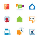 Osobista ogólnospołeczna społeczności rozmowa na internet sieci gadki loga ikonie royalty ilustracja