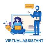 Osobista pomoc Cyfrowego Wirtualny asystent przy pracą ilustracja wektor