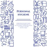 Osobistej higieny niebieskiej linii sztandar Set elementy prysznic, mydło, łazienka, toaleta, toothbrush i inni cleaning piktogra ilustracja wektor