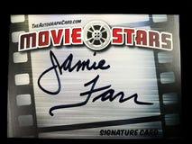 Osobistość autografu karta podpisywał aktorem Jamie Farr obraz royalty free