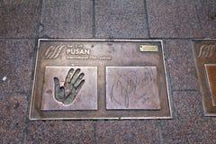 Osobistości (gwiazda filmowa) odcisk palca przy Busan Ekranowego festiwalu Międzynarodowym (BIFF) kwadratem w Dong, Gu Zdjęcia Stock