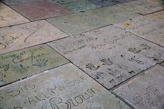 Osobistości ręki druki na ziemi w cemencie na Hollywood Boulevar Obraz Stock