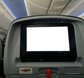 Osobisty rozrywka ekran siedzenie w samolocie fotografia stock