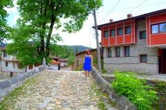 Osobliwie architektura w Koprivshtitsa zdjęcia royalty free