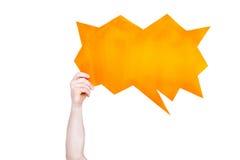Osoby mienia pomarańcze mowy pusty bąbel z kopii przestrzenią odizolowywającą Zdjęcie Royalty Free