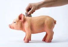 Osoby oszczędzania rachunki w prosiątko banku obrazy royalty free