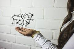 Osoby pchnięcia guzik z dolarową walutą Obrazy Royalty Free
