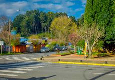 OSORNO, CHILE, SEPTEMBER, 23, 2018: Outdoor view of park of dowtown with some trees in a cloudy day in Puerto Octay. Chile royalty free stock photography