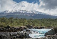 Osorno volcano and Petrohue River Stock Photos
