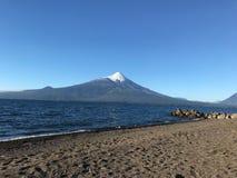 Osorno Volcano in Region de Los Lagos Chile. LLanquihue lake and Osorno in the photo royalty free stock photography
