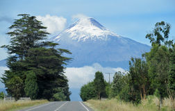Osorno volcano from the road stock photography