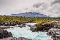 Osorno vulcan in cloudy weather, Chile Royalty Free Stock Photo