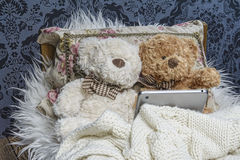 Osos de peluche en cama Imagen de archivo libre de regalías