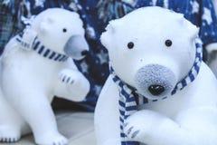 Osos polares en bufandas azules Juguetes suaves de la Navidad fotografía de archivo libre de regalías