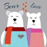 Osos polares lindos en suéteres, un ejemplo apacible y lindo del vector, un par ceñudo, abrazos alegres, un abrazo de oso un oso, ilustración del vector