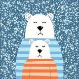 Osos polares lindos en suéteres, un ejemplo apacible y lindo, un par ceñudo, abrazos alegres, un abrazo de oso un oso, para stock de ilustración